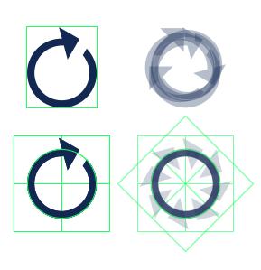 Оптический центр иконки обновления