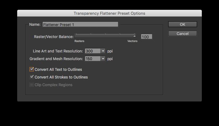 Настройки inDesign перевод шрифтов в кривые