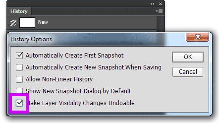 Изображение настройки make layer visibility changes undoable в Photoshop